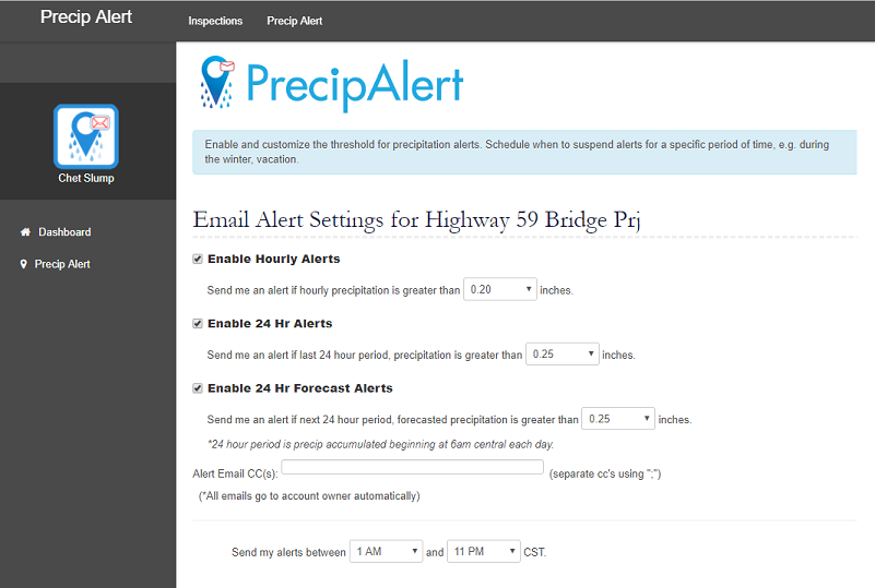 email alert settings - PrecipAlert: Alert Customization