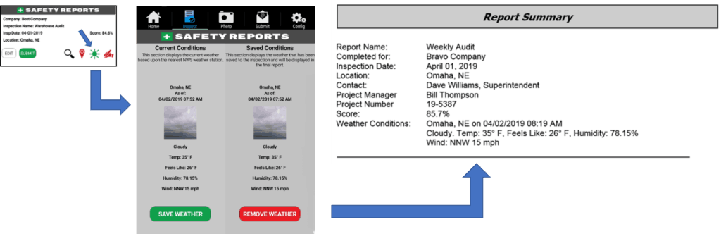 """Weather App Feature for Web page 1024x332 - """"New"""" Weather Conditions in Report Header"""