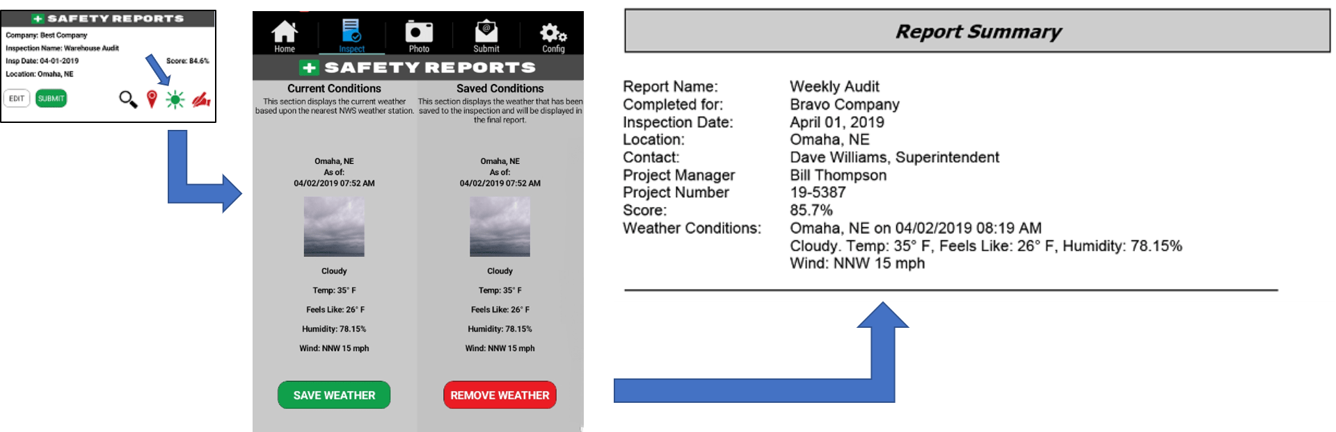 "Weather App Feature for Web page - ""New"" Weather Conditions in Report Header"